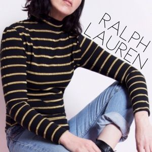 Ralph Lauren gold striped monogram sweater L 0219